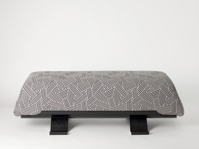 Achille Salvagni, 'Bench', 2015, Design/Decorative Art, Black lacquer and patinated bronze base, upholstered in Dedar fabric, Maison Gerard