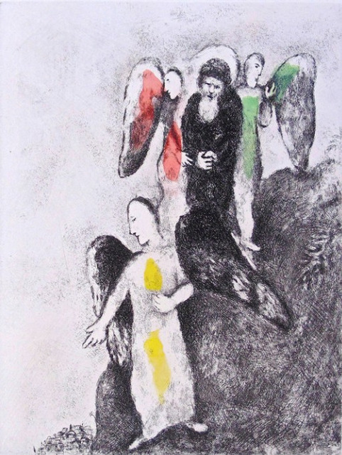 Marc Chagall, 'The Descent Toward Sodom', 1956, Print, Etching with watercolor, on Arches vellum paper, Upsilon Gallery