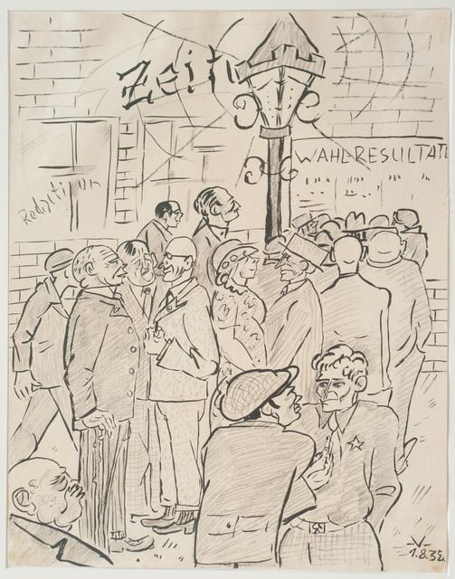 Bruno Voigt, 'Vor der Redaktion (Infront of the editorial office)', 1934, Galerie Brockstedt