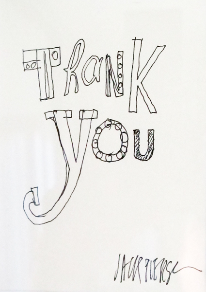Jack Pierson, 'Thank you', 1997, Drawing, Collage or other Work on Paper, Marker on paper, Hamilton-Selway Fine Art