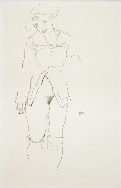 , 'Standing Female Semi-Nude (Wally Neuzil),' 1912, W & K - Wienerroither & Kohlbacher