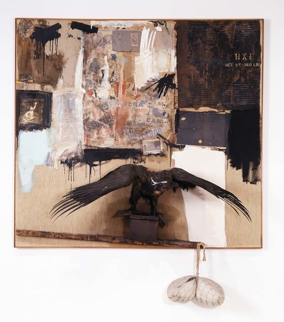 Robert Rauschenberg, 'Canyon', 1959, Combine: oil, pencil, paper, fabric, metal, cardboard box, printed paper, printed reproductions, photograph, wood, paint tube, and mirror on canvas with oil on bald eagle, string, and pillow, Robert Rauschenberg Foundation