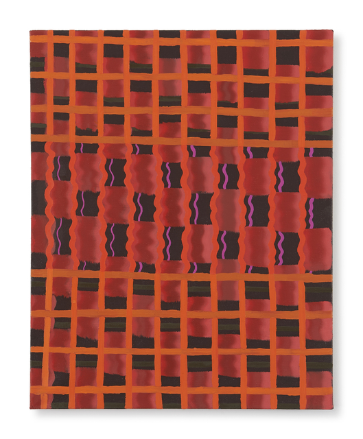 , 'Untitled (red-orange grid),' 2017, DC Moore Gallery