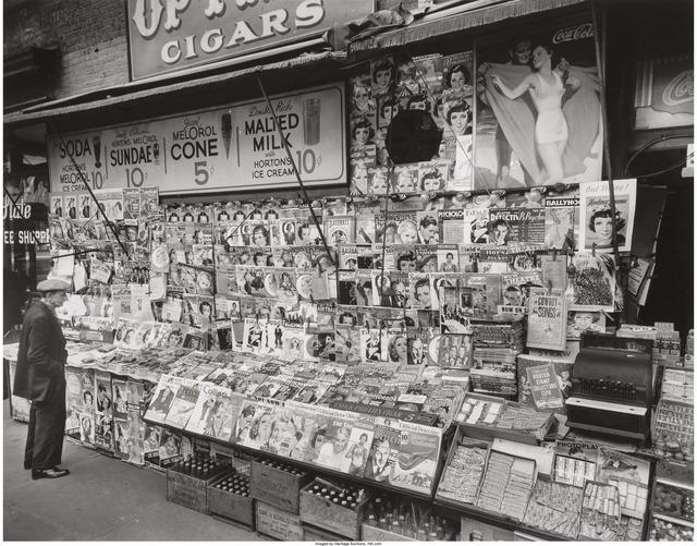 Berenice Abbott, 'Newsstand, Southwest Corner of 32nd Street and Third Avenue, November 19', 1935, Heritage Auctions