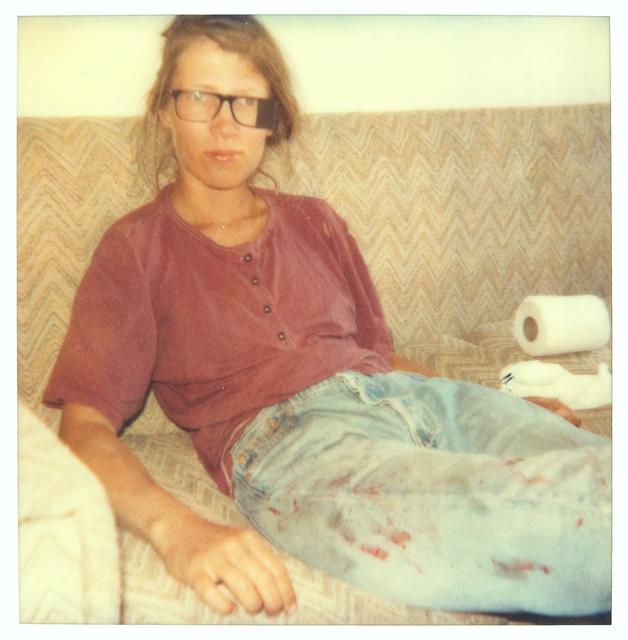 Stefanie Schneider, 'Stefanie on Sofa beaten (29 Palms, CA) ', 1998, Photography, Analog C-Print, hand-printed by the artist on Fuji Crystal Archive Paper, based on a Polaroid, not mounted, Instantdreams