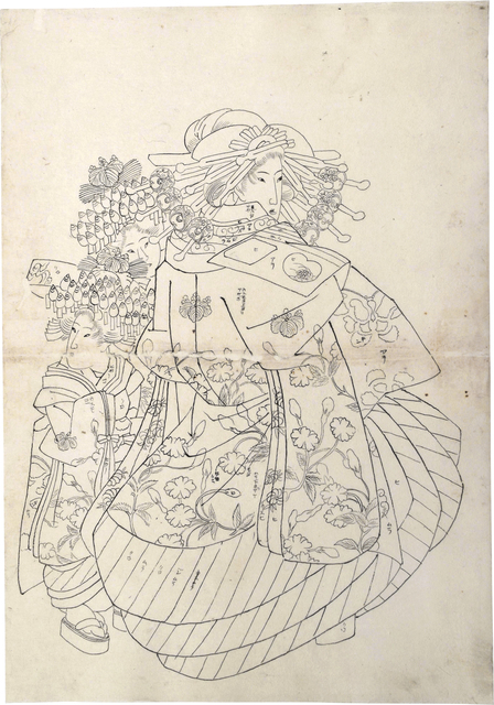 Teisai Sencho, 'Preparatory Drawing of an Oiran Wearing an Uchikage Decorated with Blossoms and Butterflies, with Two Kamuro', ca. 1830, Drawing, Collage or other Work on Paper, Sumi ink on paper, Scholten Japanese Art