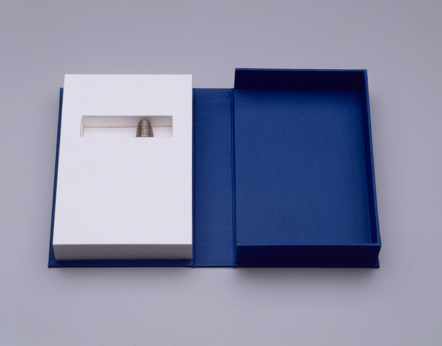 """Ann Hamilton, 'cinder', 1999, Sculpture, Silver thimble photo-etched with test of Susan Stewart's poem """"Cinder,"""" and bookbinders clamshell box, Elizabeth Leach Gallery"""