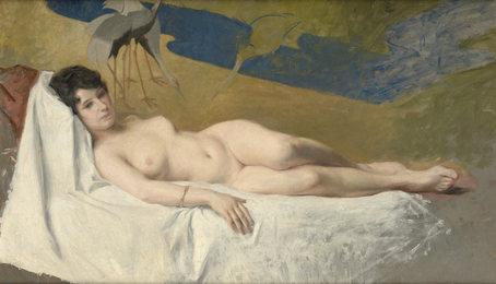 Reclining Nude by an Oriental Screen