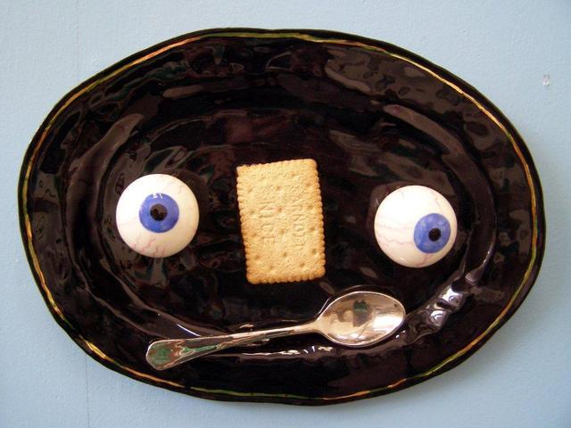 , 'Black plate with Eyes, Biscuit and Spoon,' 2012, Garis & Hahn