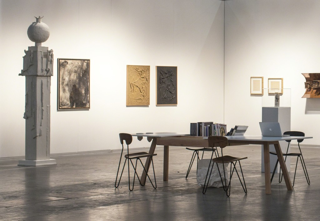 Booth view. Selection of masterpieces from Argentinian Post War Art. Lucio Fontana and Destructive Art legacy. From Left:  Aldo Paparella, Alberto Greco, Kenneth Kemble, Lucio Fontana and Luis Wells.