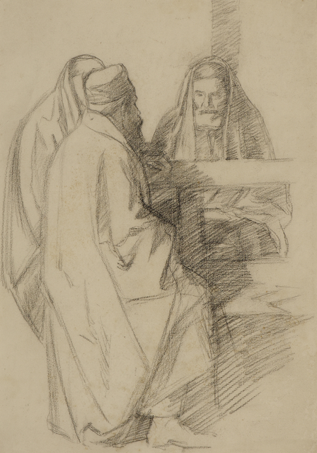 William Rothenstein, 'Talmudic Discussion', ca. 1904, Drawing, Collage or other Work on Paper, Pencil on paper, Ben Uri Gallery and Museum
