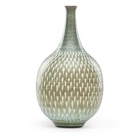 Bulbous vase with reverse teardrop pattern, Claremont, CA