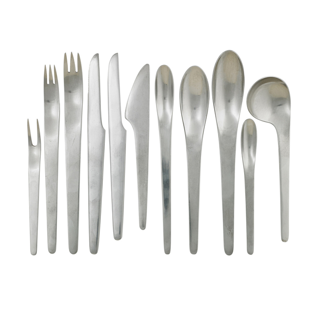 Arne Jacobsen, 'Ten-Piece AJ Flatware Set For Eight With Six Serving Pieces (95 Total), Denmark', 1950s-60s, Rago/Wright