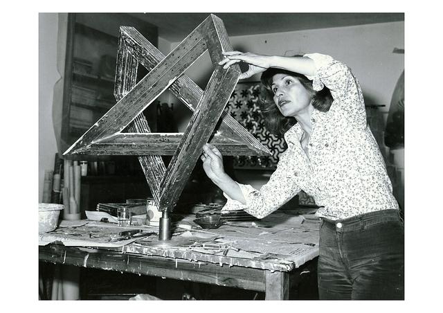 Monir Farmanfarmaian, 'Monir Shahroudy Farmanfarmaian in her studio working on Heptagon Star, Tehran, 1975', 1975, Guggenheim Museum