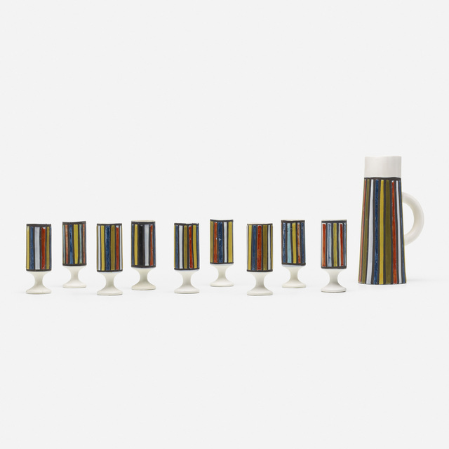 Vallauris, 'pitcher and set of nine cups', c. 1965, Wright