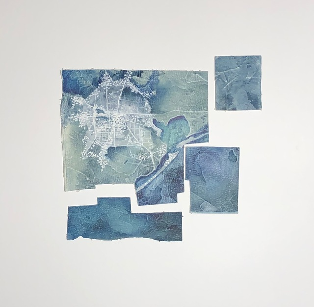Cecilia Villanueva, 'Houston, a Dandelion from the Sky, City, aerial view, blue, white map, ink and oil, environmentalist, climate change', 2019, Archway Gallery