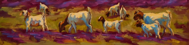 ", '""Browsing in Verbena Fields"" painterly depiction of a group of white and brown Goats in Purple and Green Grass,' 2010-2017, Eisenhauer Gallery"