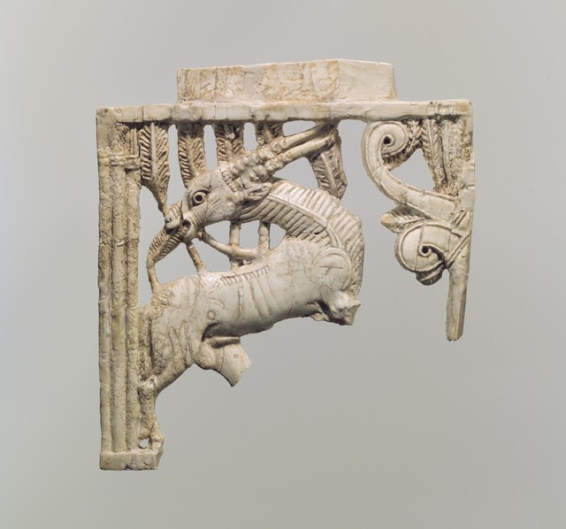 Unknown Assyrian, 'Openwork furniture plaque with a grazing oryx in a forest of fronds', ca. 9th–8th century B.C., The Metropolitan Museum of Art