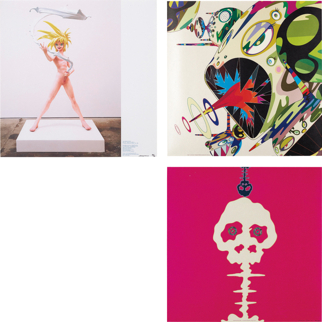 Takashi Murakami, 'My Lonesome Cowboy; Homage to Francis Bacon (Study of Isabel Rawsthorne); and Mushroom Bomb PINK', 2001; and 2003, Phillips