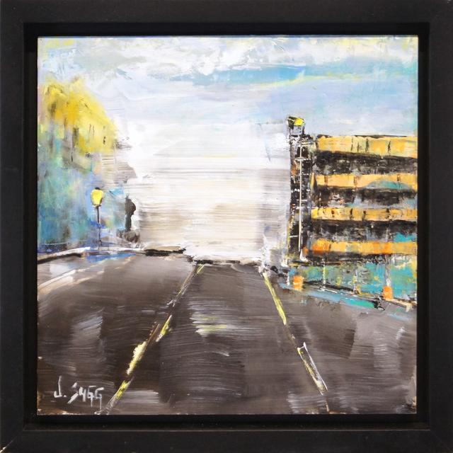 Janice Sugg, 'Impressionist Cityscape Painting 'Orange Garage' Abstract City Art, Urban Life Scene', 2017, Fringe Gallery