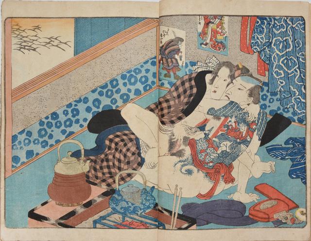 Utagawa Toyokuni III (Utagawa Kunisada), 'Tattooed Lovers on a Cold Night', ca. 1840, Ronin Gallery