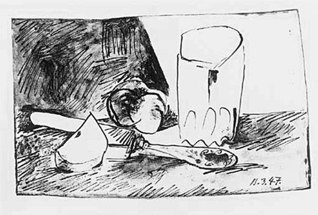 Pablo Picasso, 'Pommes, Verre et Couteau', 1947, michael lisi / contemporary art