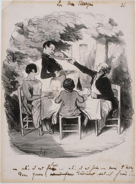 Honoré Daumier, 'Les Bons Bourgeois: Ah! Il est frais...Mais t'nez donc Garçon', 1846, Phillips Collection