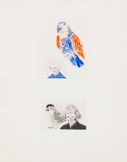 David Hockney, 'My Mother and a Parrot', 1974, inch&cm