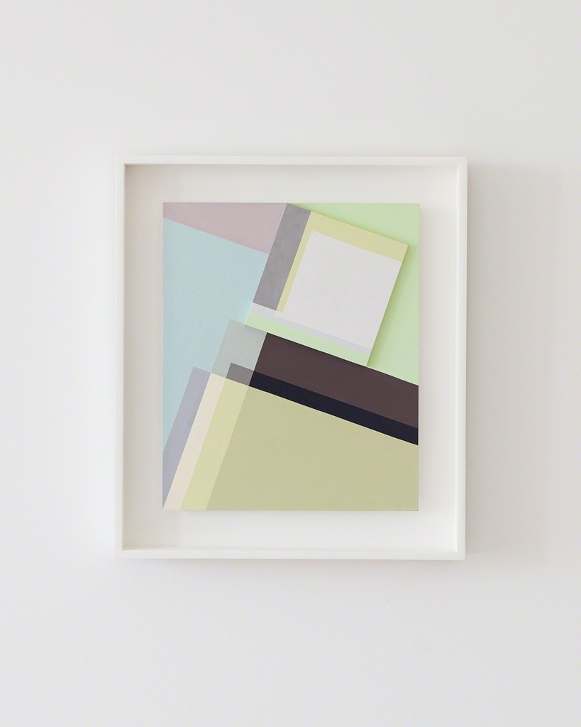 The artist calls this body of work 'intimate geometry.' Decisive reflects her sense that she had found a powerful composition, despite its modest size.  Seligson chose this piece to translate into the largest of the Art Rugs because she was wanted to create a textile piece with a three-dimensional element. The painting is framed in white painted wood by Keith Knight of Knightworks.