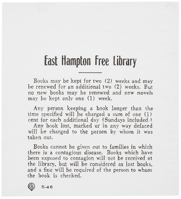 Charles LeDray, 'East Hampton Free Library (Rules)', 2018, Peter Freeman, Inc.
