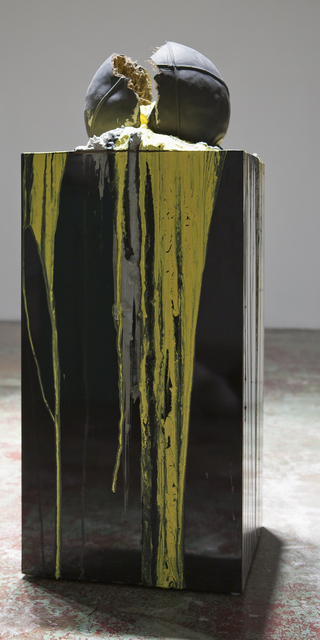 , 'Imploded Ball Barf (black and yelow),' 2011, Nina Johnson