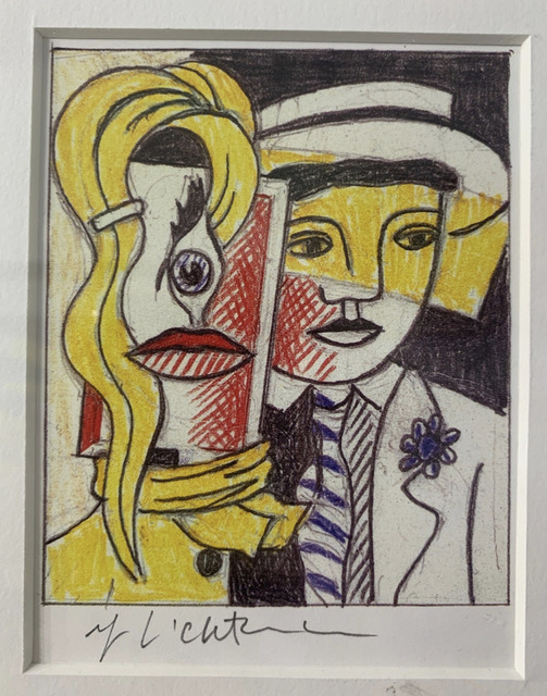Roy Lichtenstein, 'Stepping Out Sketch, Signed ', 1978, Print, Offset Lithograph, Lyons Gallery