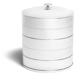 Round sterling silver lid jar with horizontal relief decor.