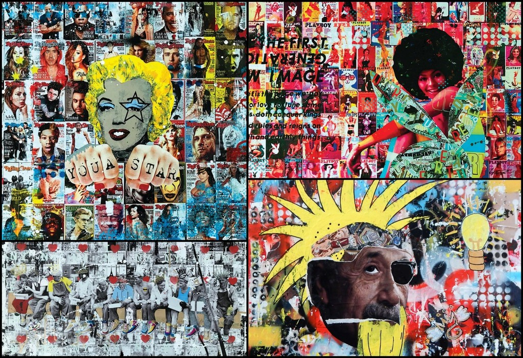 Greg's art has evolved into a mixed media style comprising multiple layers, pop culture imagery, graffiti, collage, photography and resin. Top Row (Left to Right): 'You A Star', 2016, 'Be First', 2016; Bottom Row (Left to Right): 'NYC Lunchin', 2017; 'Think Punk', 2018