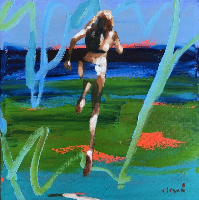 ", '""Summer 2018 #2"" Abstract oil Painting of Girl Jumping into the Water with Blue and Green background,' 2010-2018, Eisenhauer Gallery"