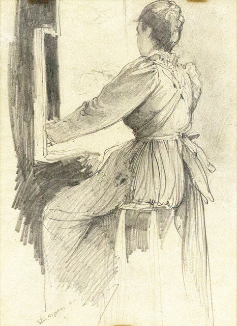 , 'Woman Seated at Easel,' ca. 1900, Davis & Langdale Company, Inc.