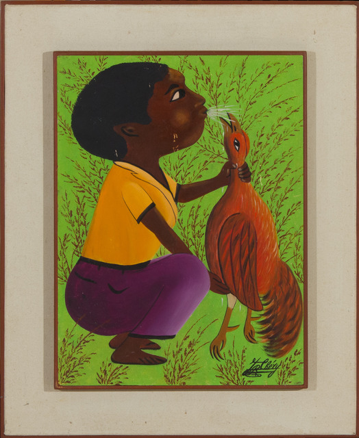 Jacques-Richard Chery, 'Man and his coq', ca. 1980, Painting, Acrylic on board, Haiti Collection Privee