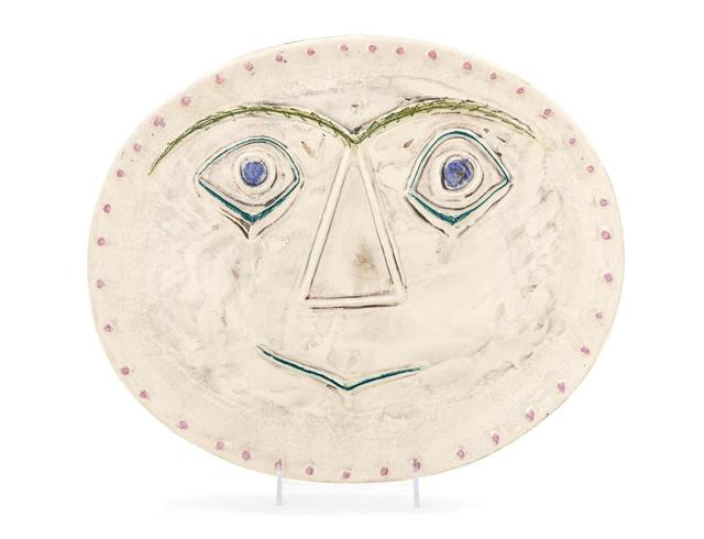 Pablo Picasso, 'Visage Geometrique', 1956, Design/Decorative Art, White earthenware clay, decoration in ceramic pastels under brushed glaze and patina, Hindman