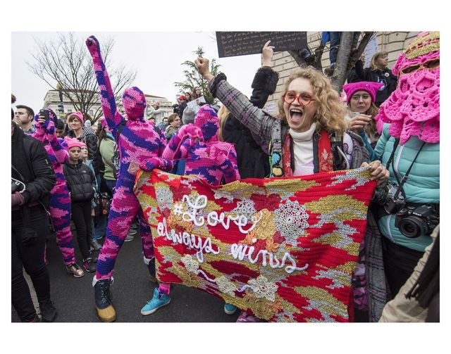 ", '""Love Always Wins"", Installation Artist Olek at the Women's March on Washington D.C.,' January 21-2017, Steven Kasher Gallery"
