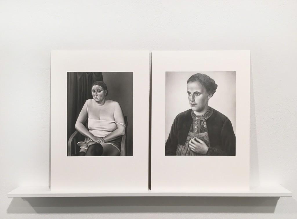 """Marti Cormand Deutsche Kunst, Und Entartete Kunst. Alexander Kandoldt, Halbakt II"""" and """"Deutsche Kunst, Und Entartete Kunst. Hermann Fiebert, Walsertalerin, 2016 Graphite on paper Diptych: 12 x 8.5 in each"""