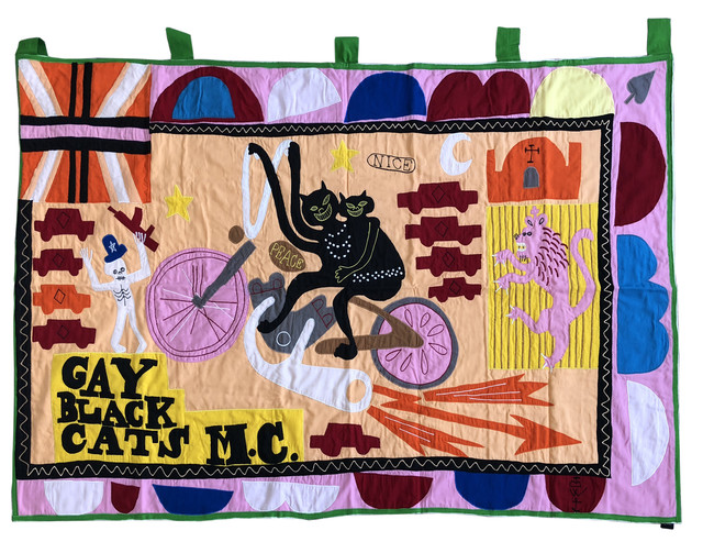 Grayson Perry, 'Gay Black Cats MC', 2017, Mixed Media, Cotton fabric and embroidery appliqué handmade flag in colours, Lougher Contemporary Gallery Auction