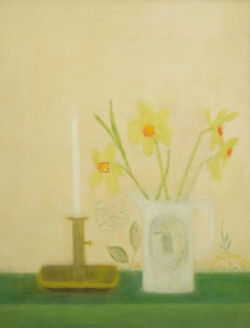 Craigie Aitchison CBE RSA RA, 'Candlestick Still Life', 1960, Painting, Oil on canvas, Piano Nobile