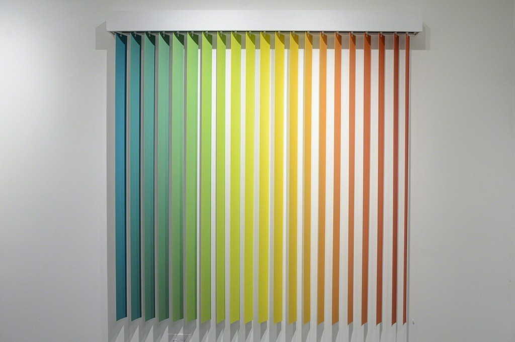 "Christopher Derek Bruno, ""Parallel Study 7,"" acrylic on vinyl blinds"