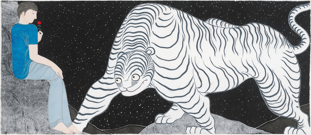 LIU QI 劉琦, 'Ferocious Tiger in Heart 心有猛虎', 2016, Painting, Ink and colour on paper, Galerie Ora-Ora