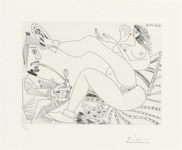 Pablo Picasso, 'OPIUM SMOKER AND WOMAN IN HOME FOOTWEAR', 1968, Altmans Gallery