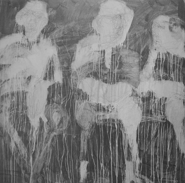 , 'Line Silver Series: Three Sitting Figures,' 2018, ÆRENA Galleries and Gardens
