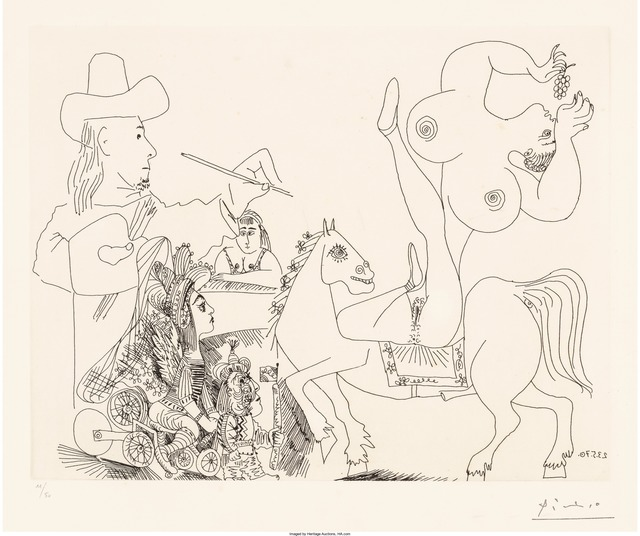 Pablo Picasso, 'Artist and Nude Equestrienne Eating Grapes, from Series 156', 1970, Heritage Auctions