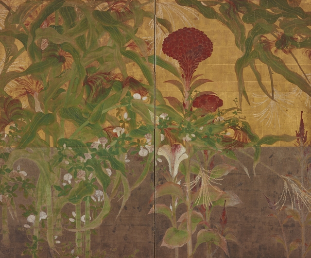 , 'Coxcombs, Maize, and Morning Glories,' 17th century, Smithsonian Freer and Sackler Galleries