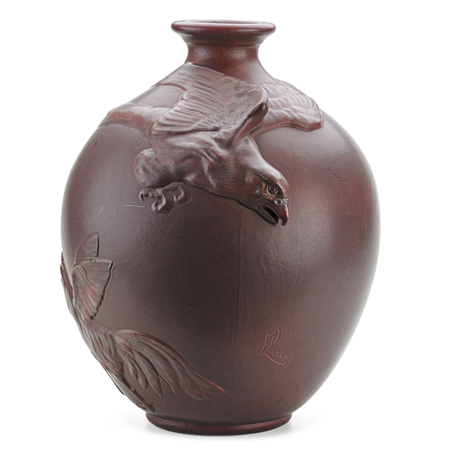 Weller Pottery, 'Weller, Rare And Large Fru-Russett Vase With Eagle, Rooster, And Hen, Zanesville, OH', ca. 1905, Rago/Wright