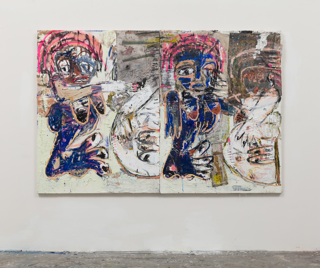 , 'Bumba and belfie double (blue and white with pink headdresses),' 2016, Vigo Gallery